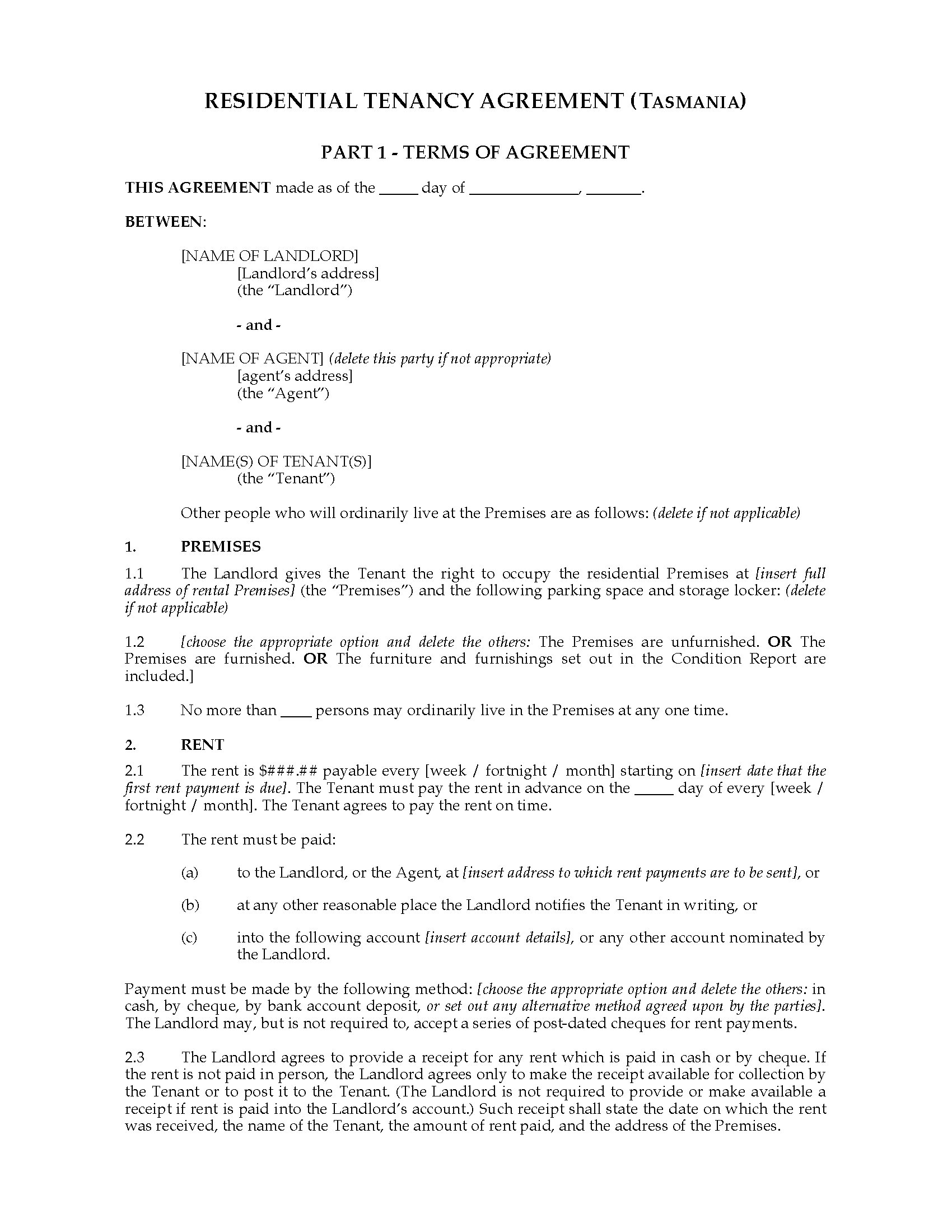Residential Tenancy Application Form Tasmania