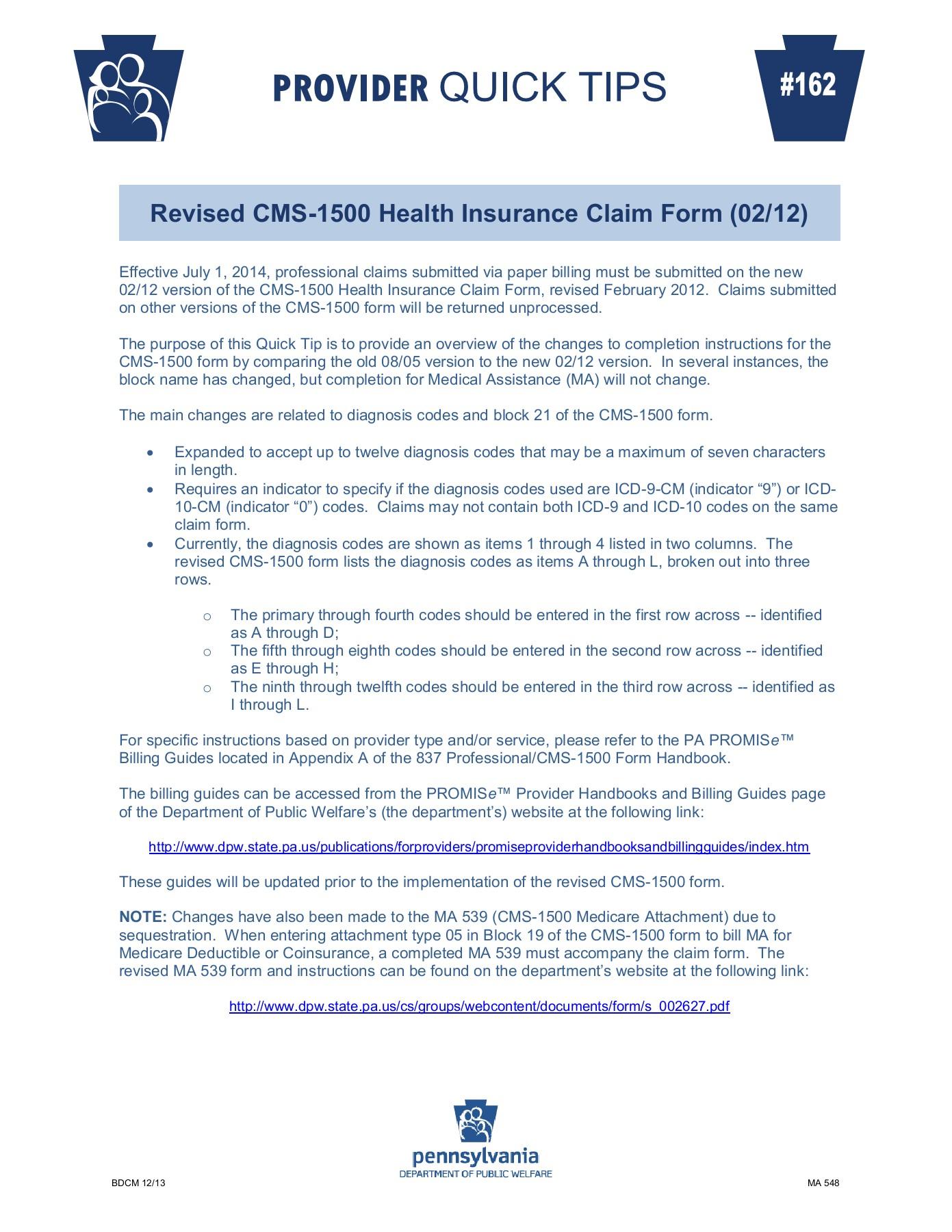 Revised Cms 1500 Claim Form 2012