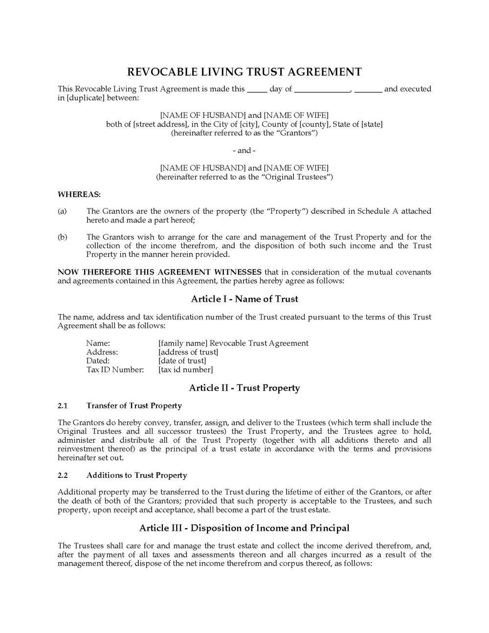 Revocable Trust Document