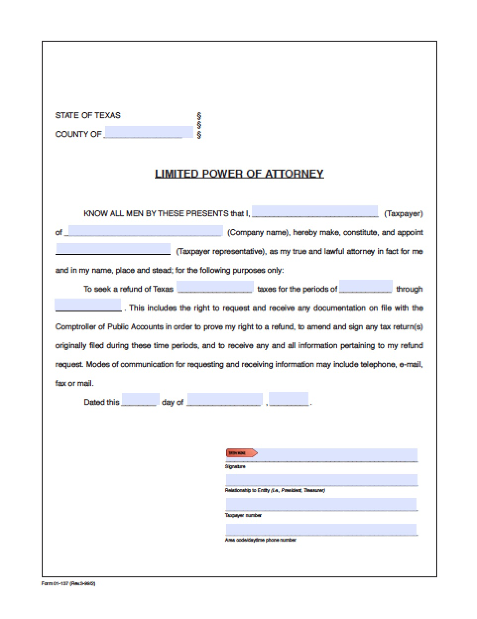 Revocation Of Durable Power Of Attorney Form Texas