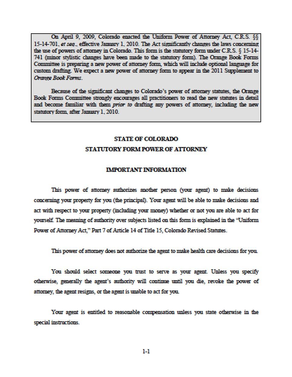 Revoke Power Of Attorney Form Colorado