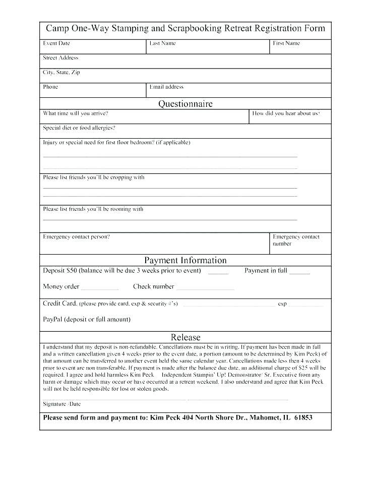 Road Race Registration Form Template