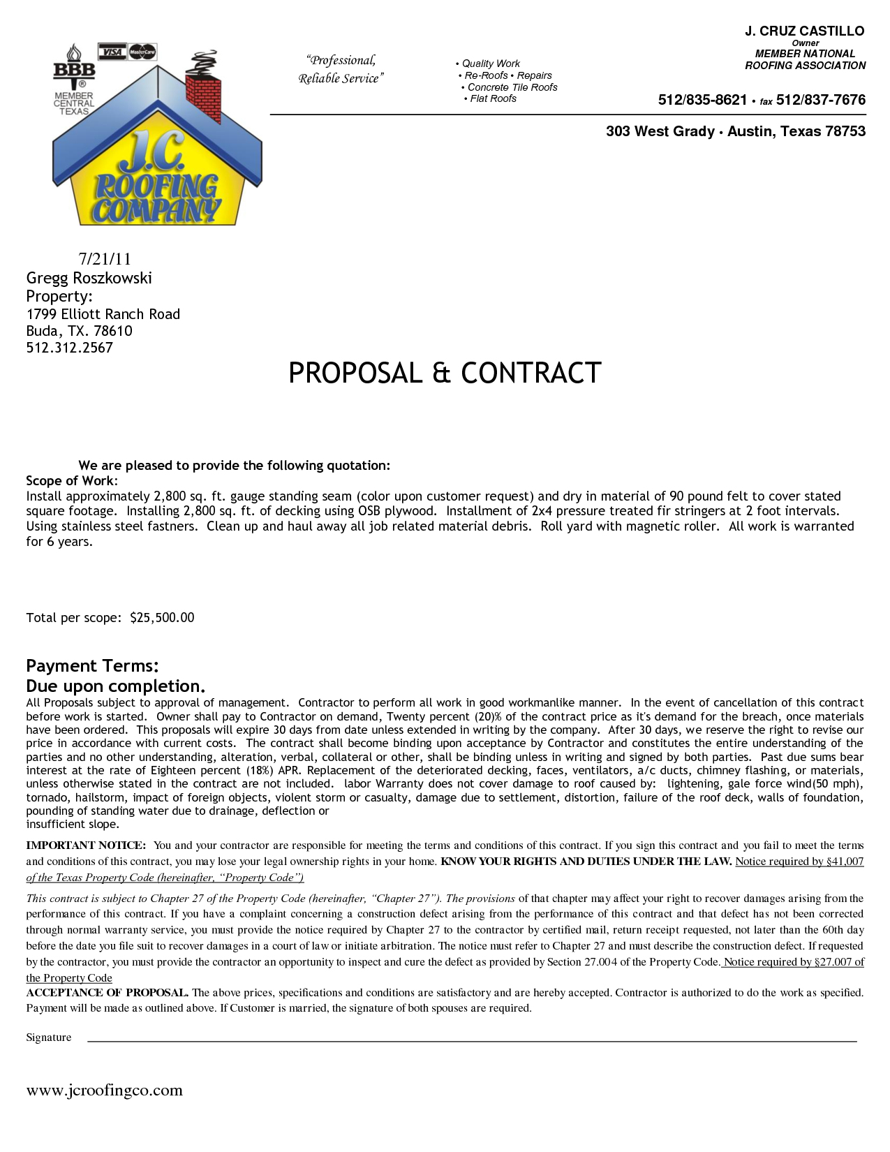 Roofing Contract Forms