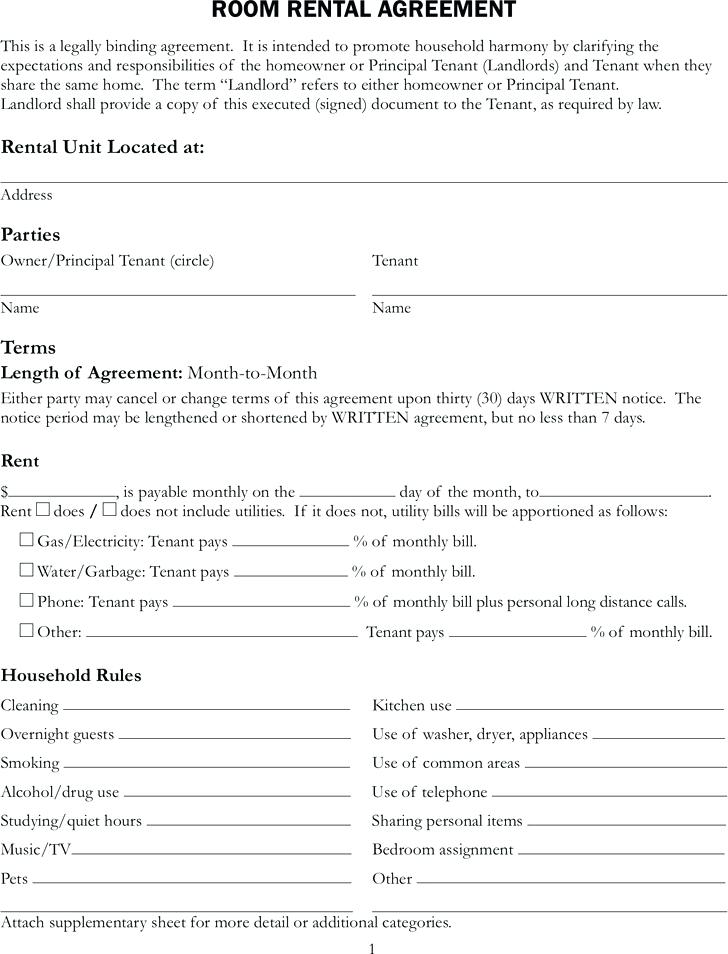 Room Rent Agreement Format In Hindi Pdf