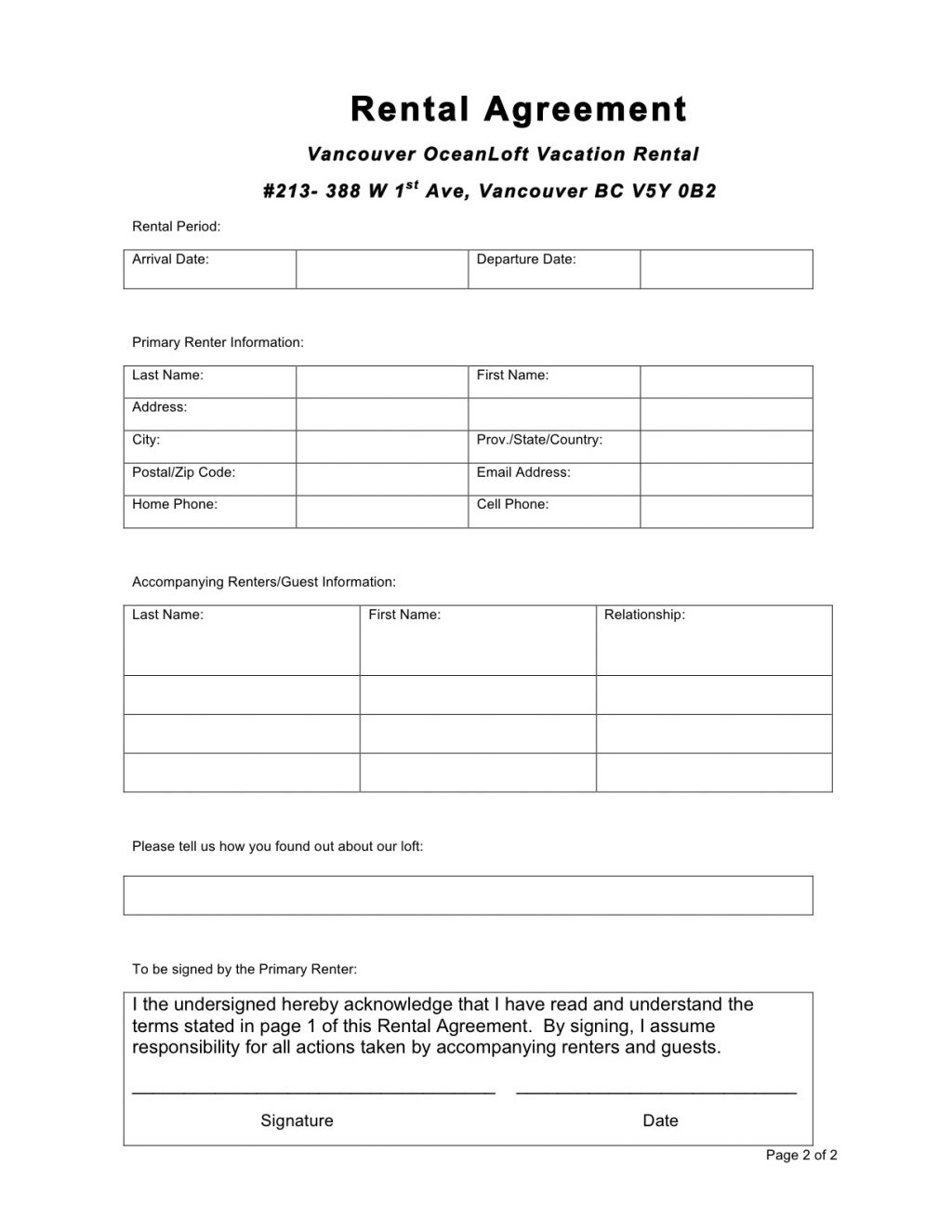 Room Rental Agreement Form Wa