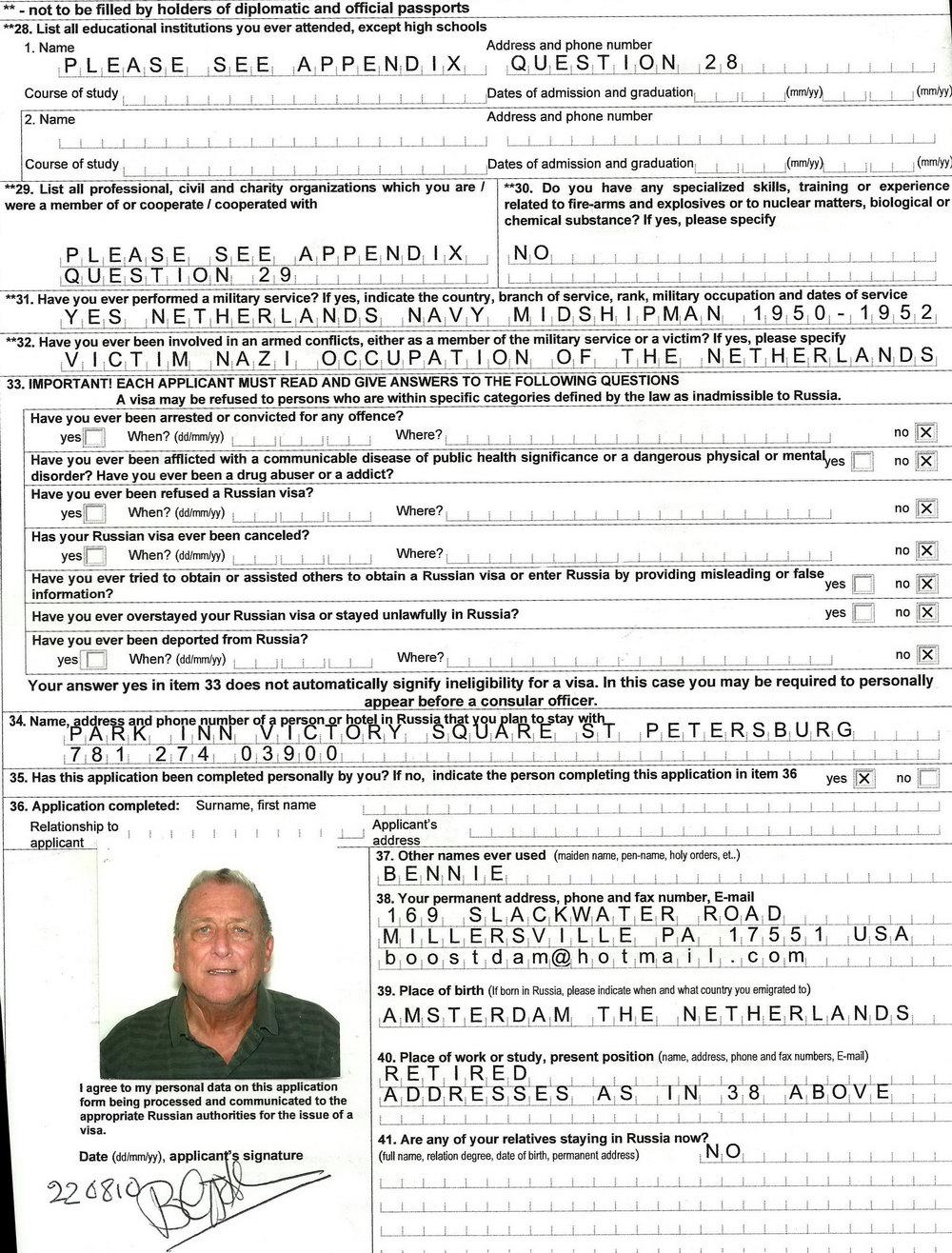 Russian Visa Forms Download