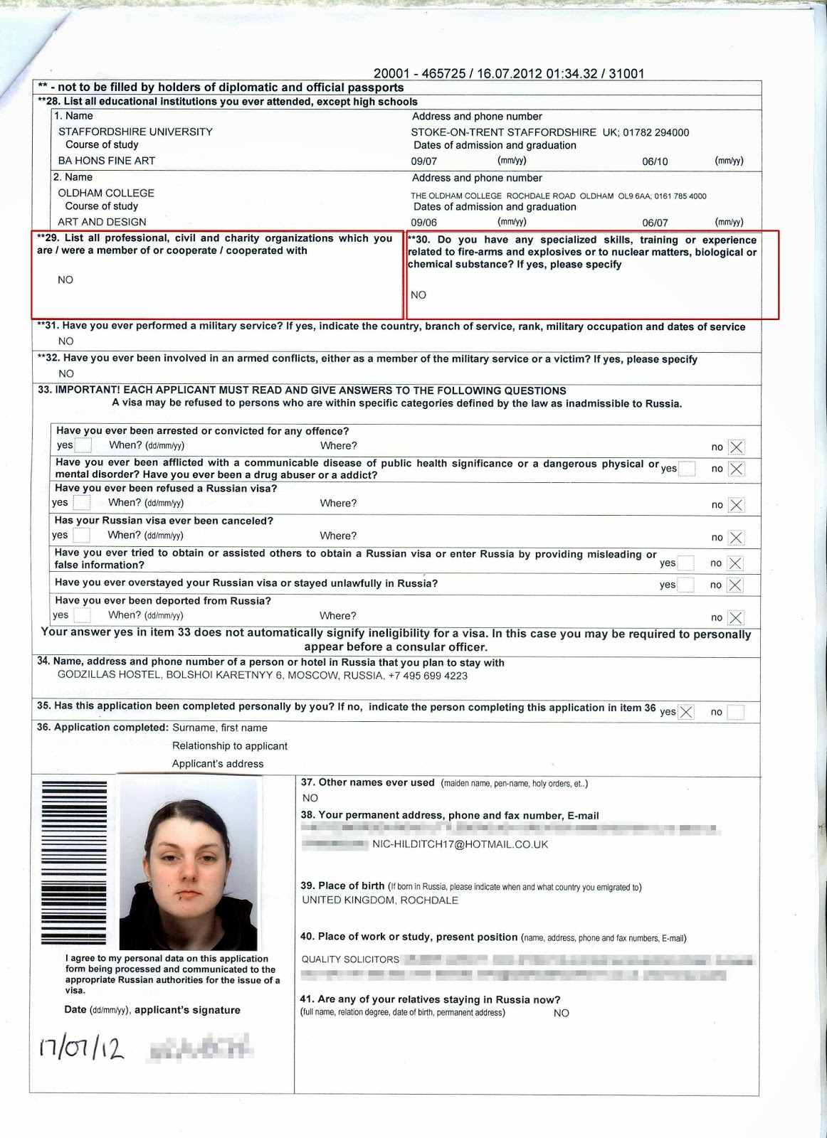 Russian Visitor Visa Application Form