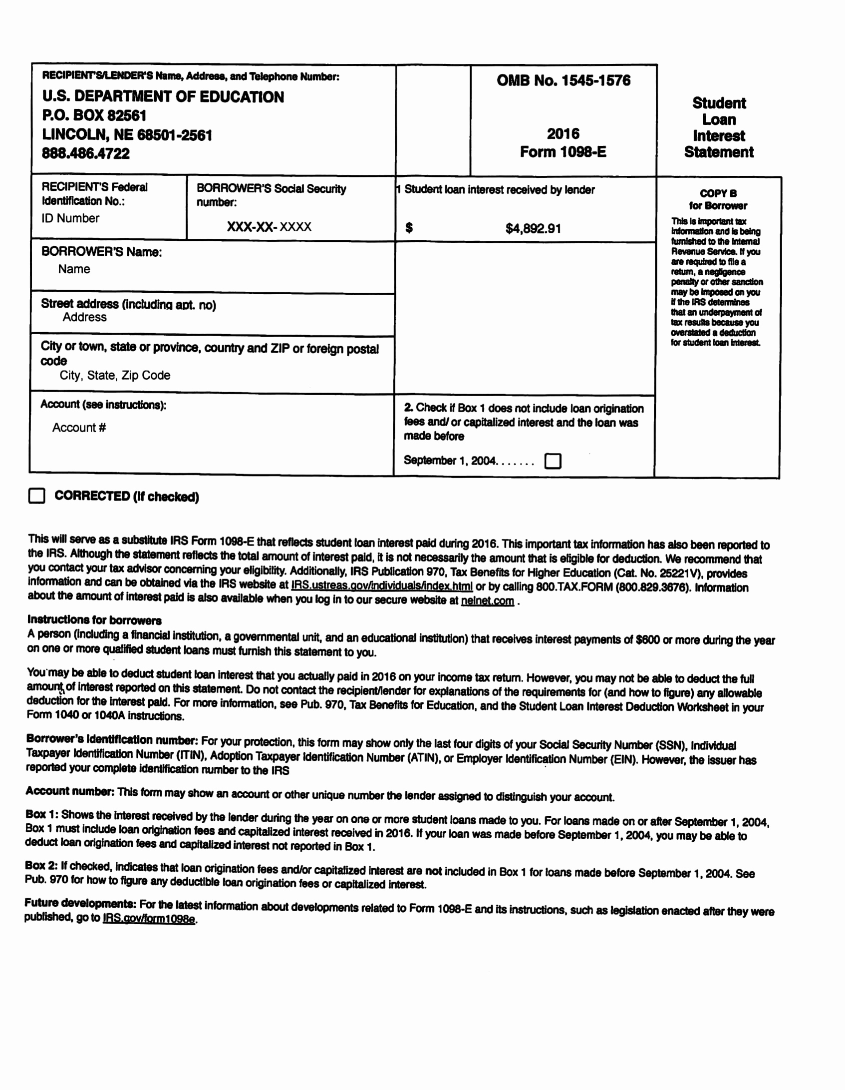 Form 1098 Example Awesome Submit Taxes 2017 Ask My Accountant