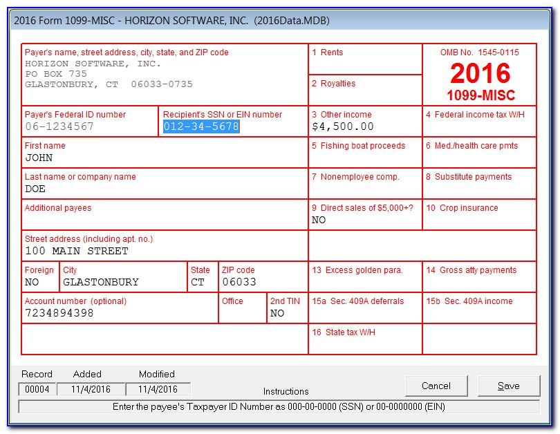 Sample 1099 Form Completed