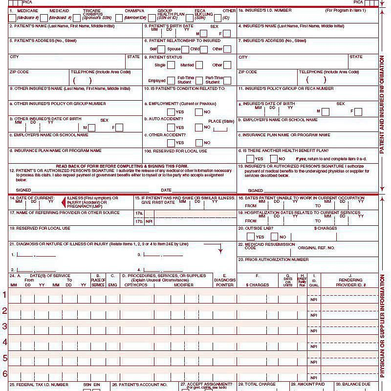 Sample 1500 Claim Form Filled Out