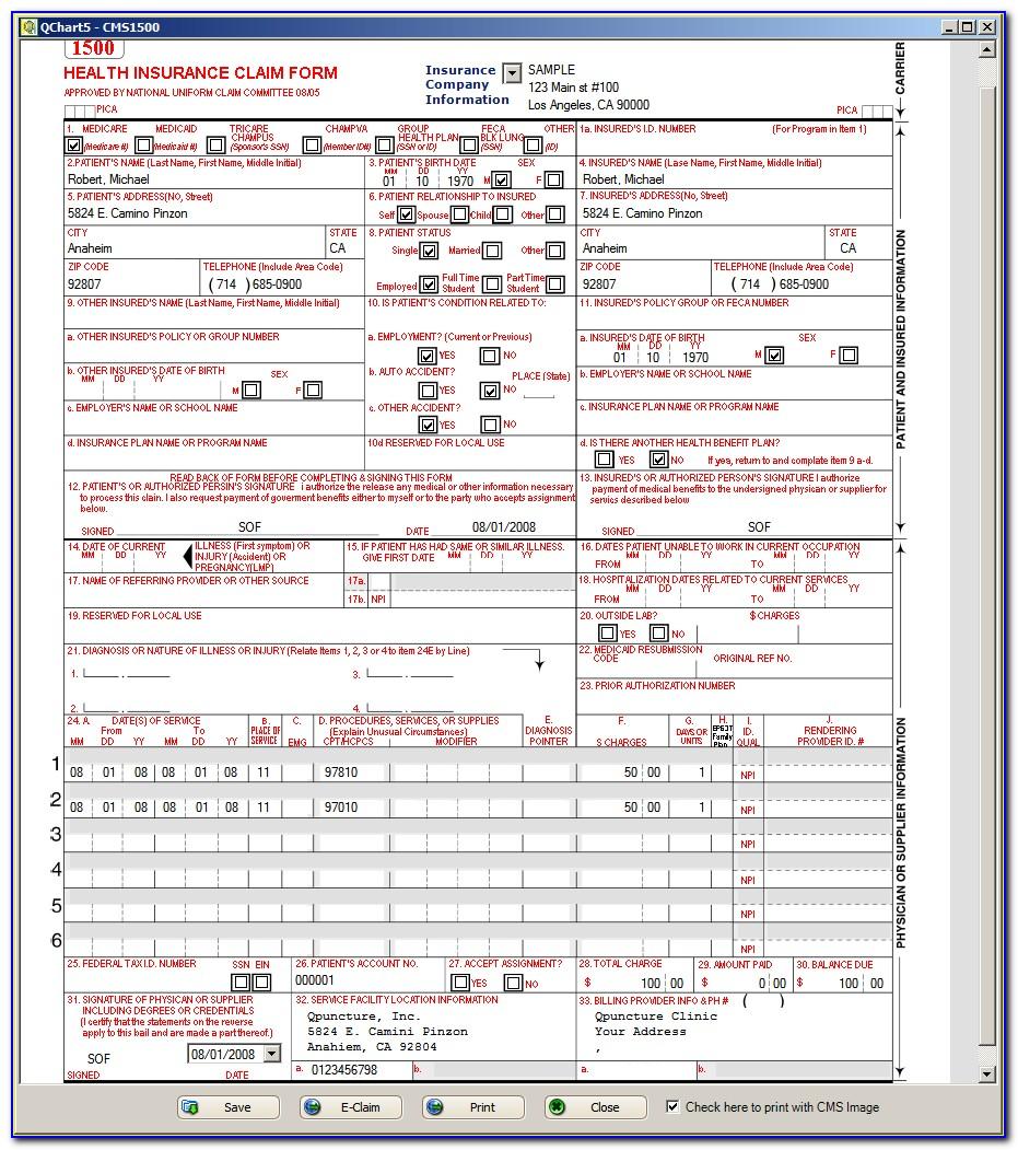 Sample Cms 1500 Form Filled Out Pdf