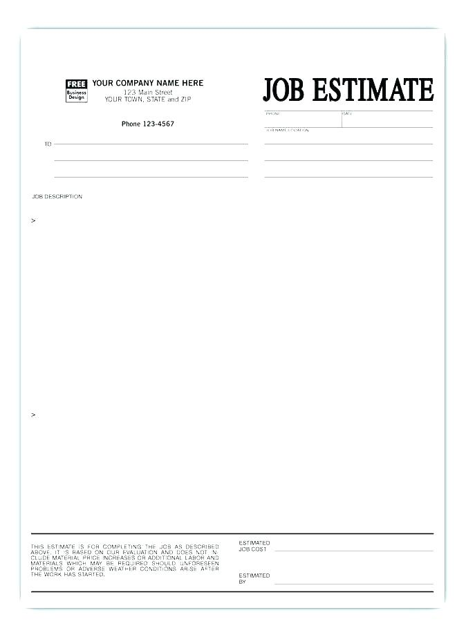 Sample Construction Bid Sheet Template
