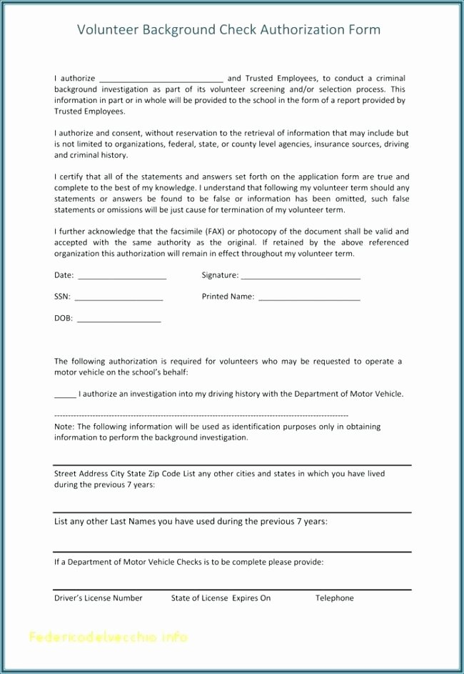 Sample Criminal Background Check Authorization Form