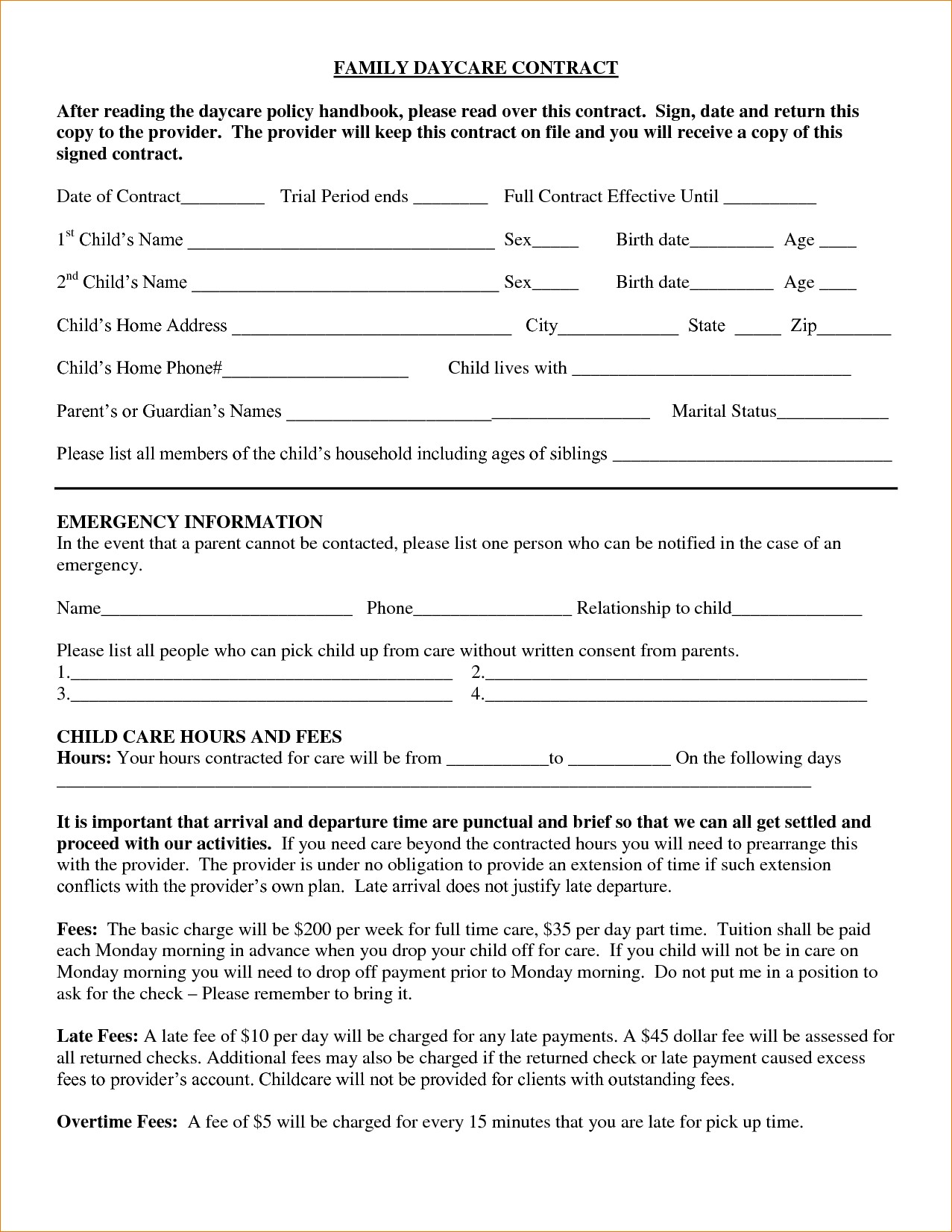 Sample Daycare Tax Forms For Parents