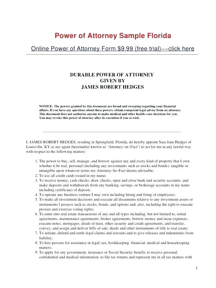 Sample Durable Power Of Attorney Form Texas