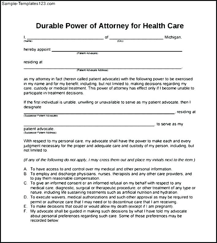 Sample Durable Power Of Attorney Form Virginia