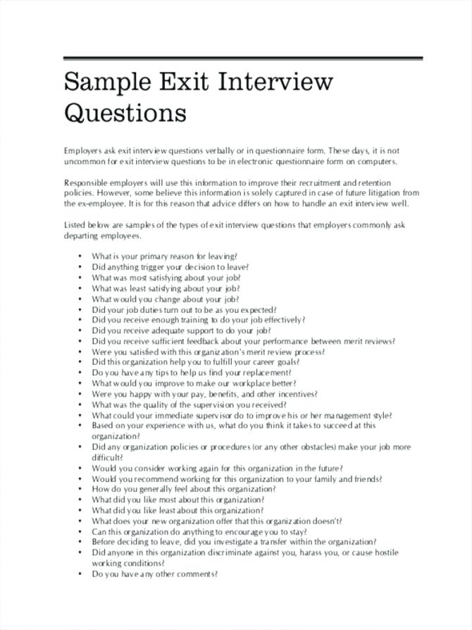 Sample Exit Interview Form With Answers