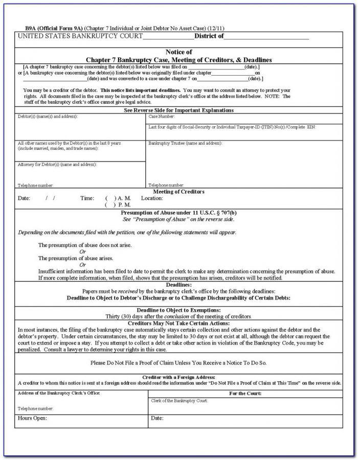 Sample Florida Bankruptcy Forms