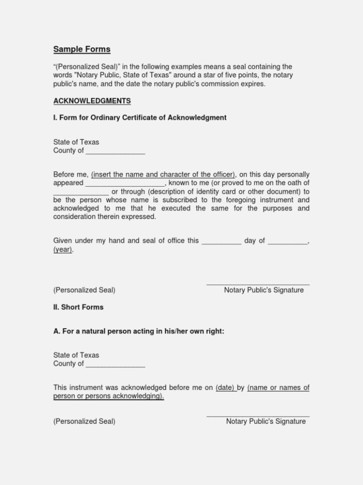 Sample Forms Notary Public