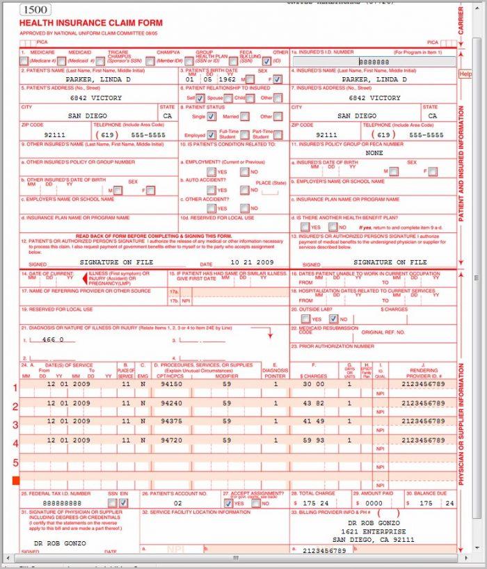 Sample Hcfa Form 1500