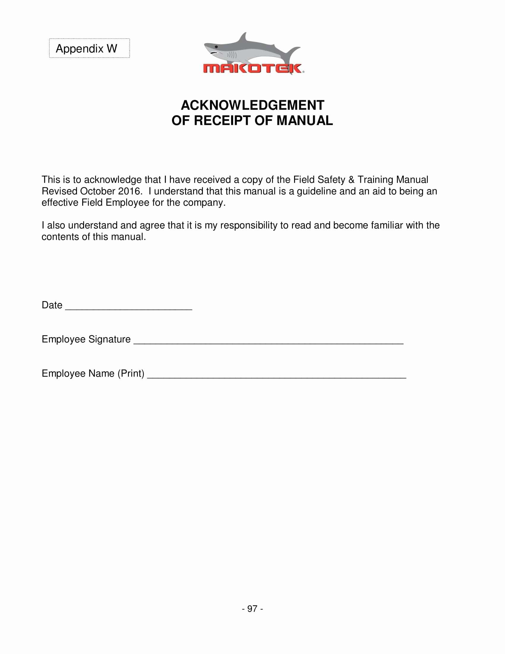 Training Acknowledgement Form Template For 4 Employee Manual Acknowledgment Forms Word Pdf