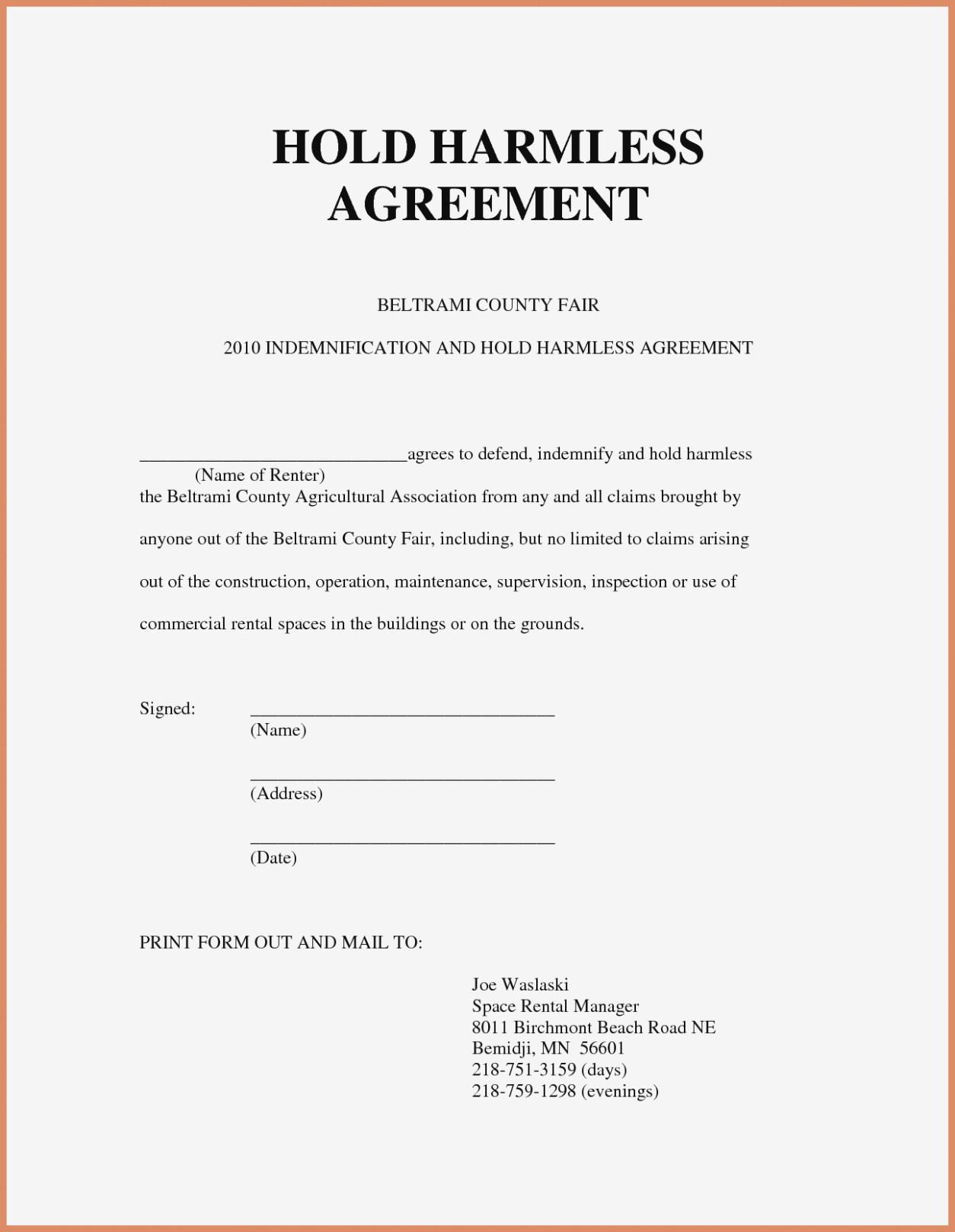 Sample Hold Harmless Agreement Form