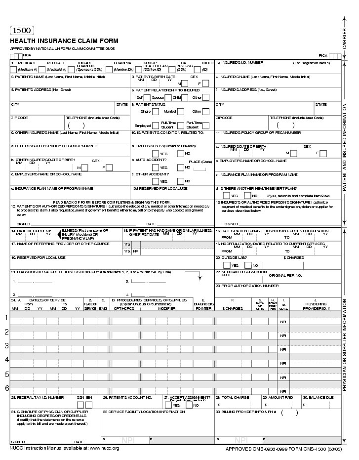 Sample Medicare 1500 Form