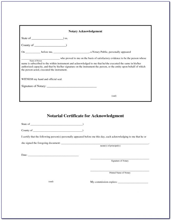 Sample Notary Certificate Acknowledgement