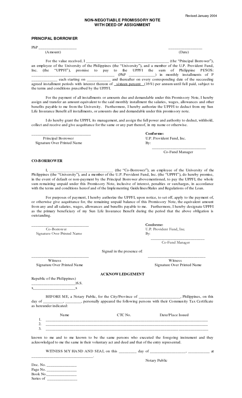 Sample Of Promissory Note Philippines