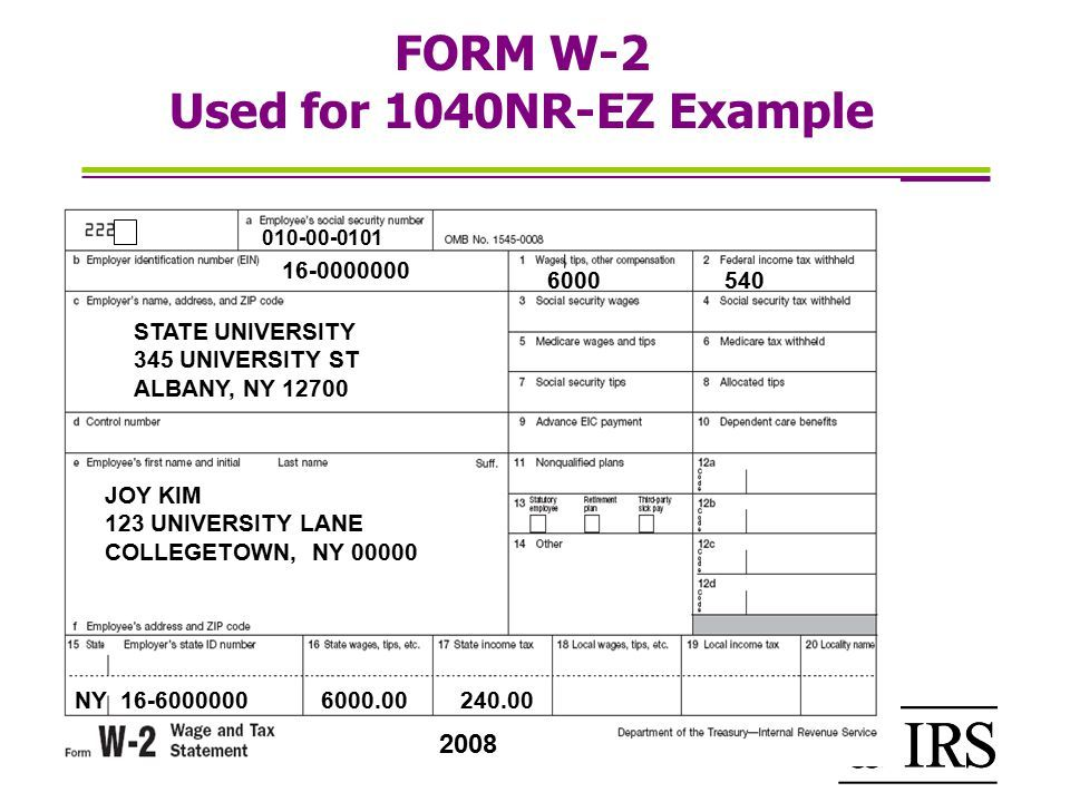Sample Of W2 Form Completed