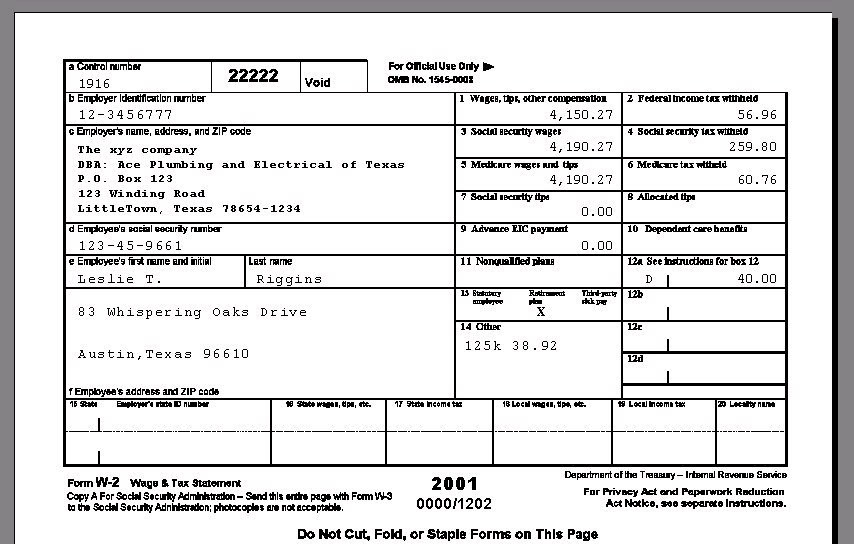 Sample Of W2 Form Filled Out