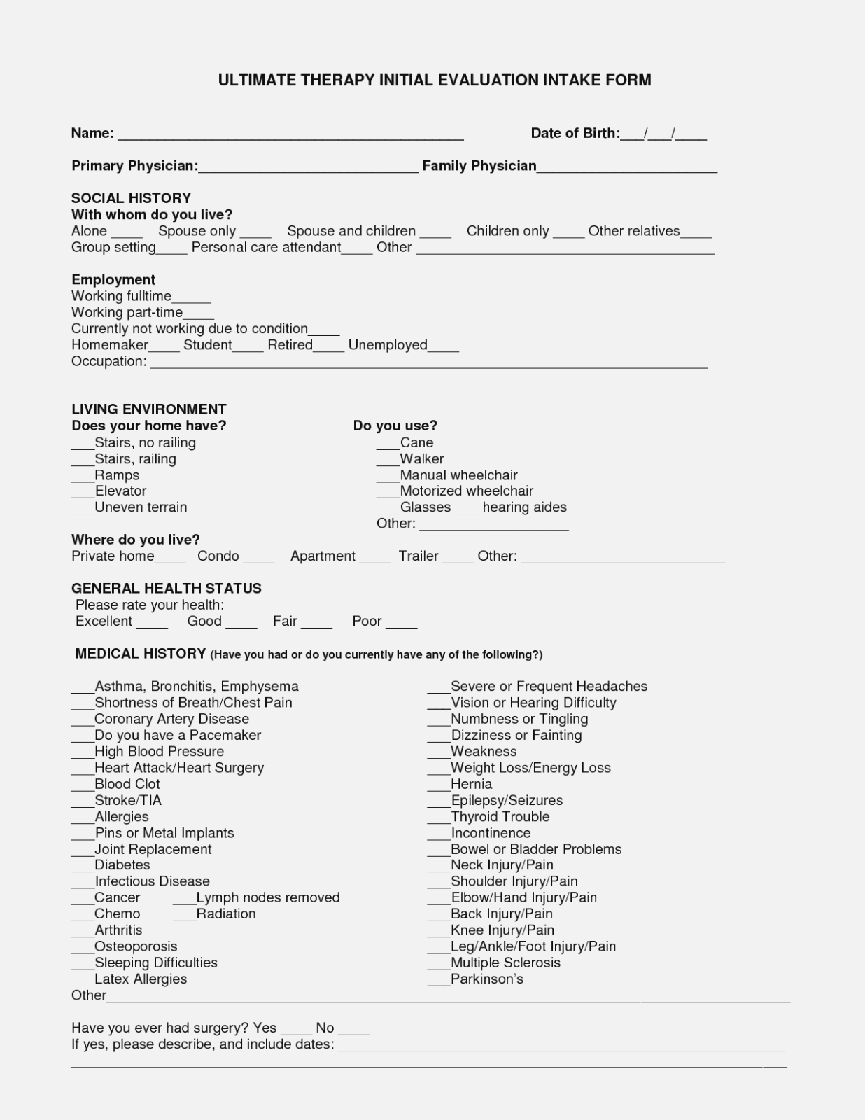 Sample Physical Therapy Intake Forms