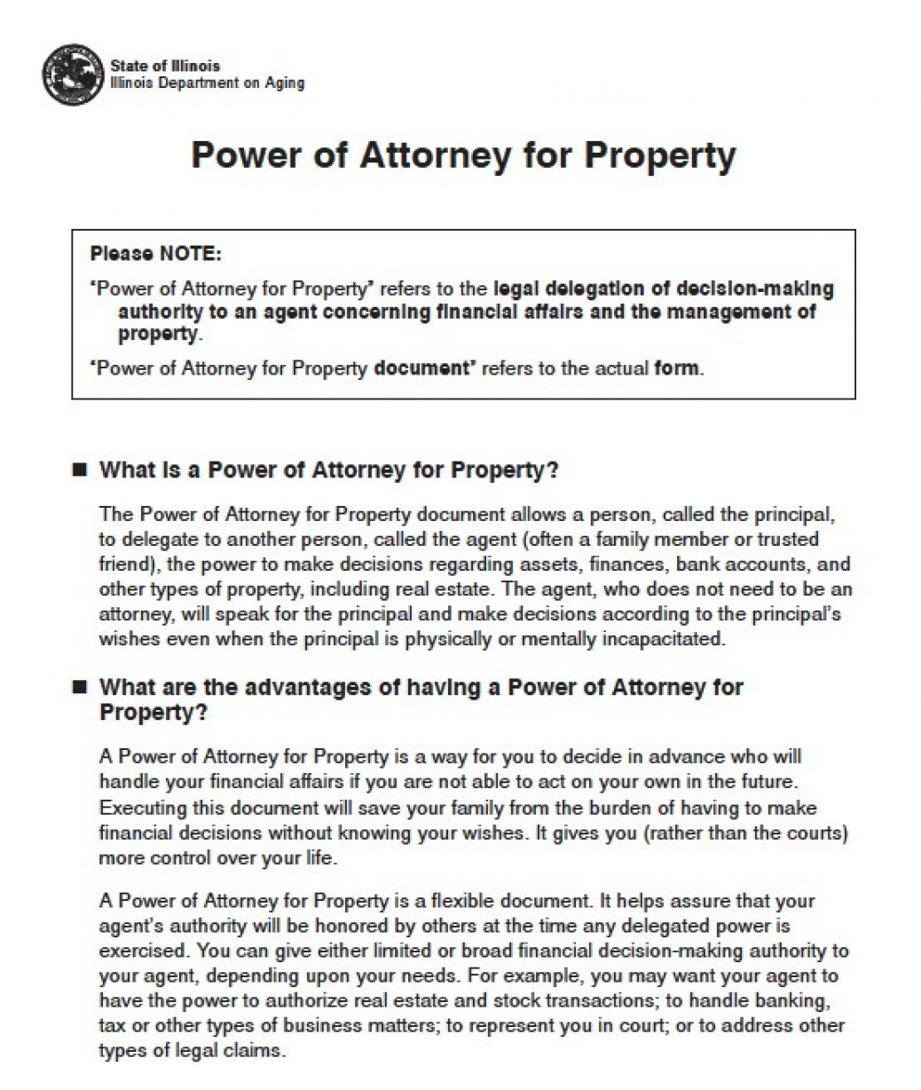 Sample Power Of Attorney Form Illinois