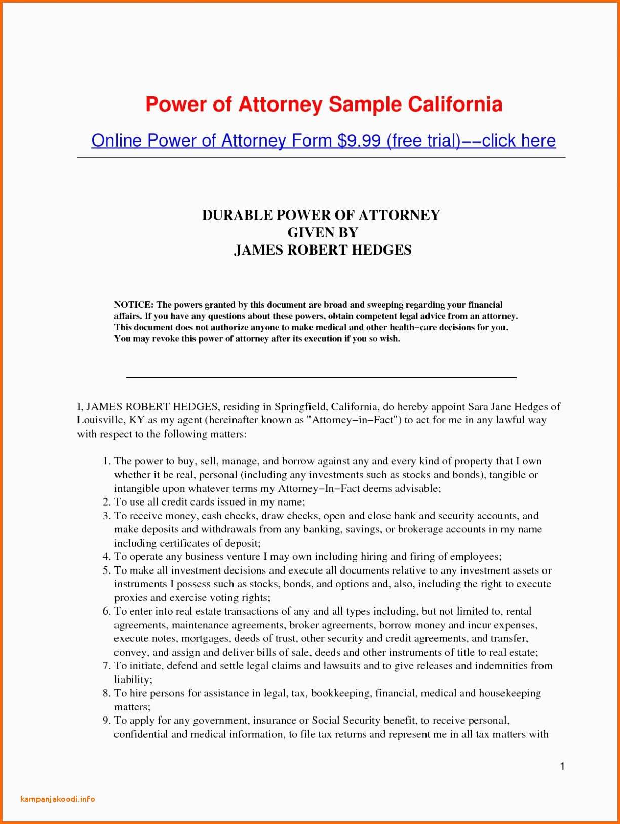 Sample Medical Power Of Attorney Form Example Power Attorney Letter Format Pakistan Save General Power Attorney