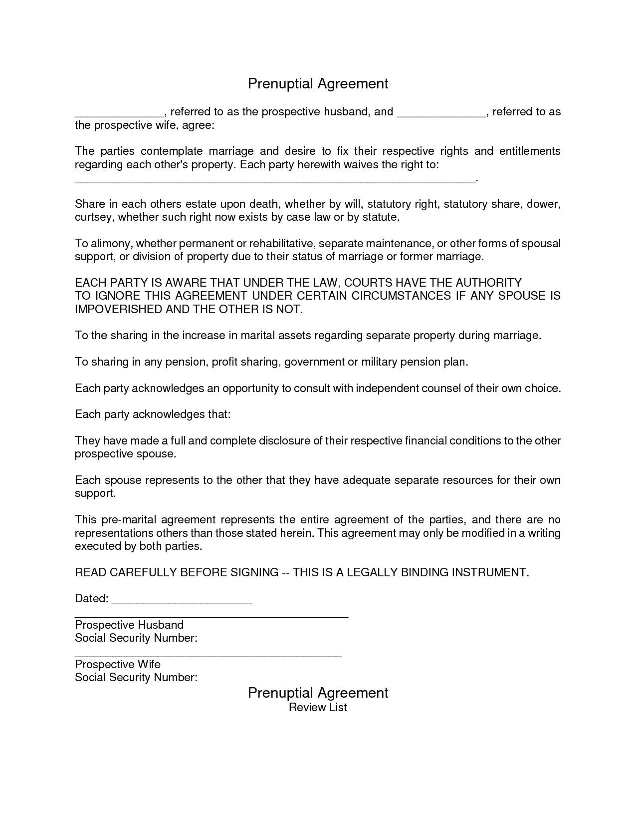 Sample Prenuptial Agreement Form California
