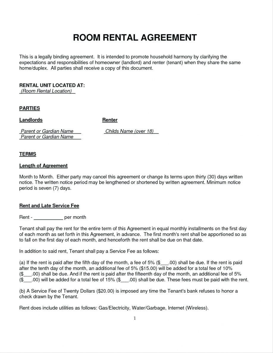 Sample Rent Agreement Format In Word