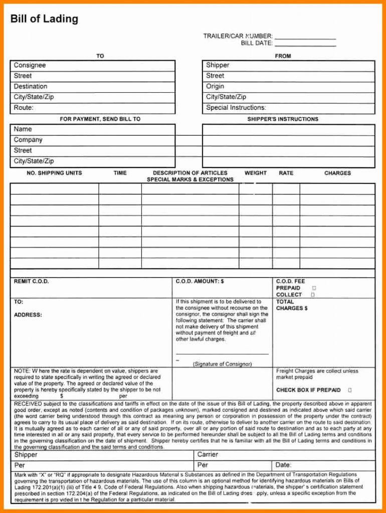Sample Short Form Straight Bill Of Lading