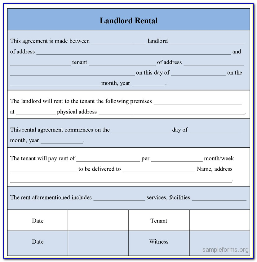 Sample Tenant Agreement Form
