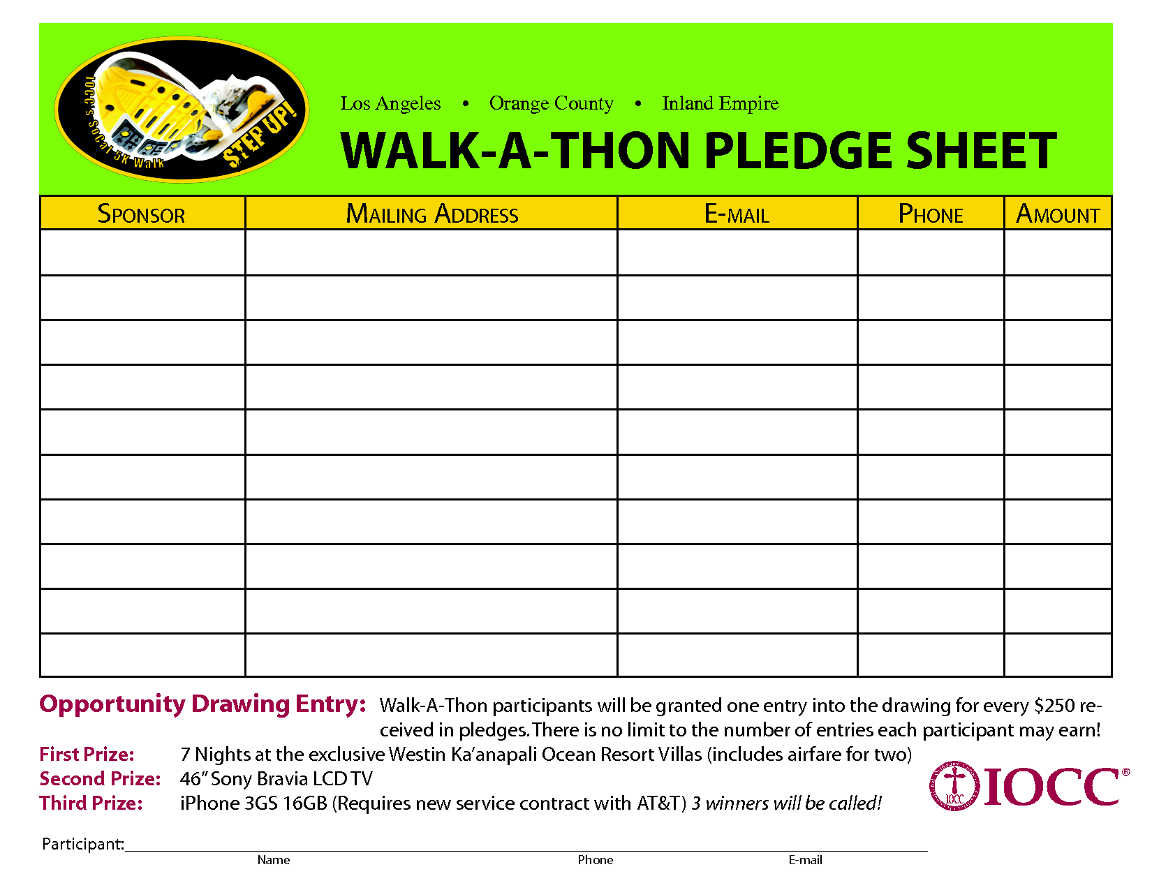 Sample Walk A Thon Registration Form