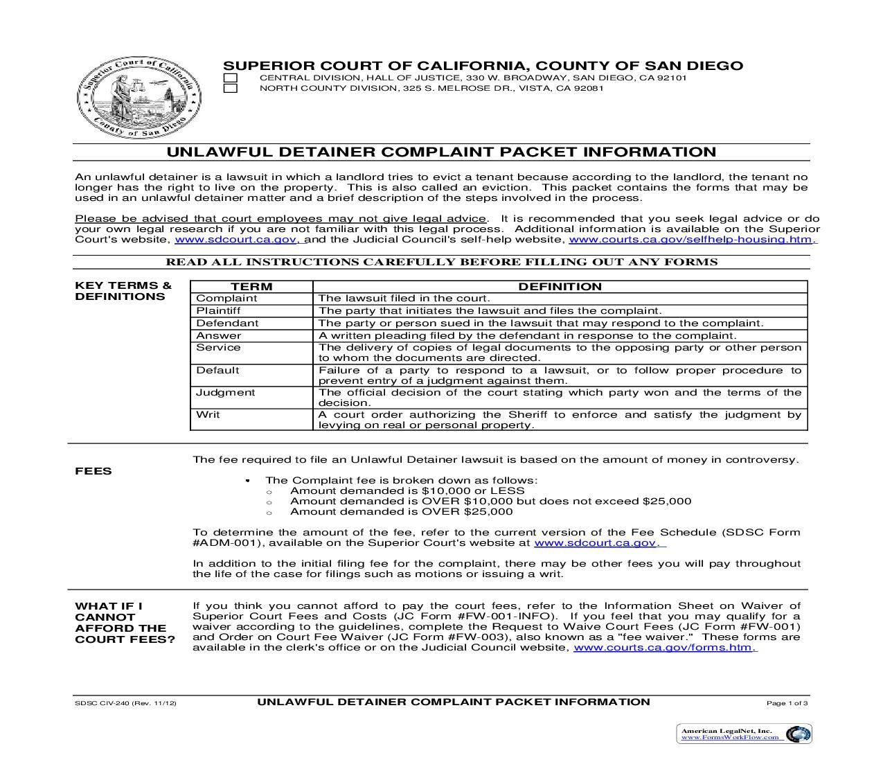 San Diego County Court Declaration Form