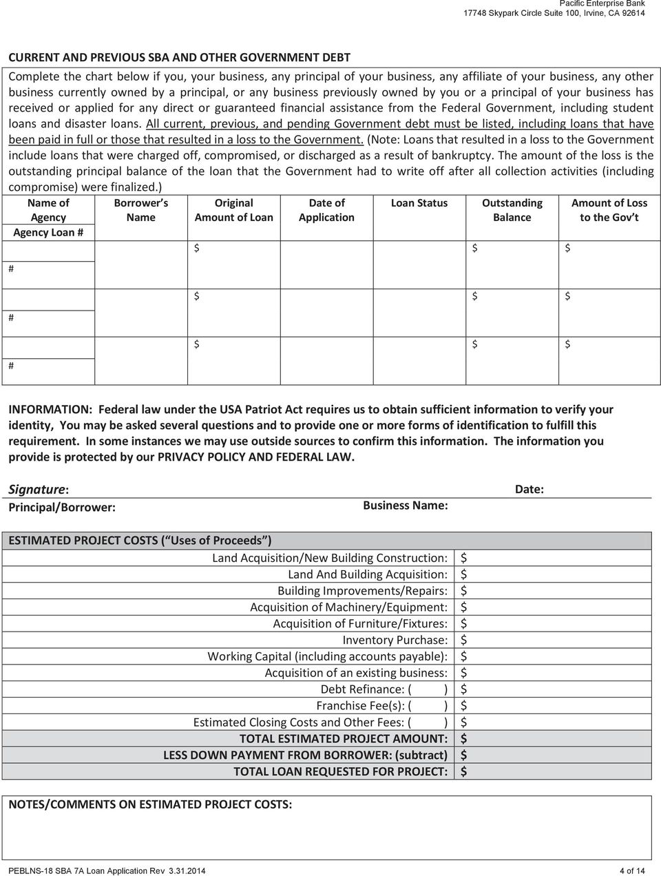 Sba Loan Application Pdf With Sba Disaster Loan Application Form
