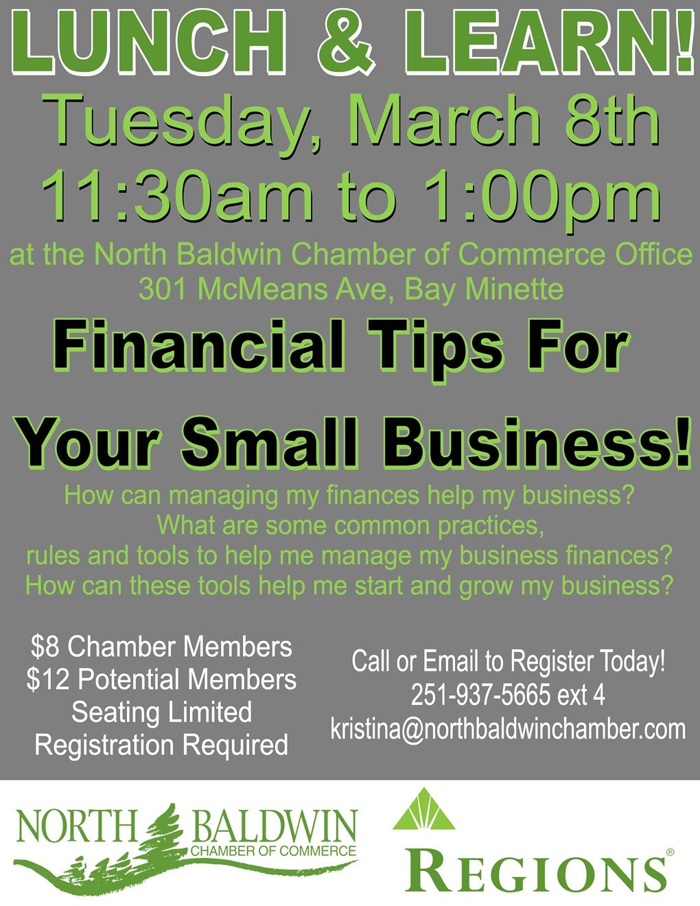 Event Lunch & Learn: Financial Tips For Your Small Business And Register My Small Business