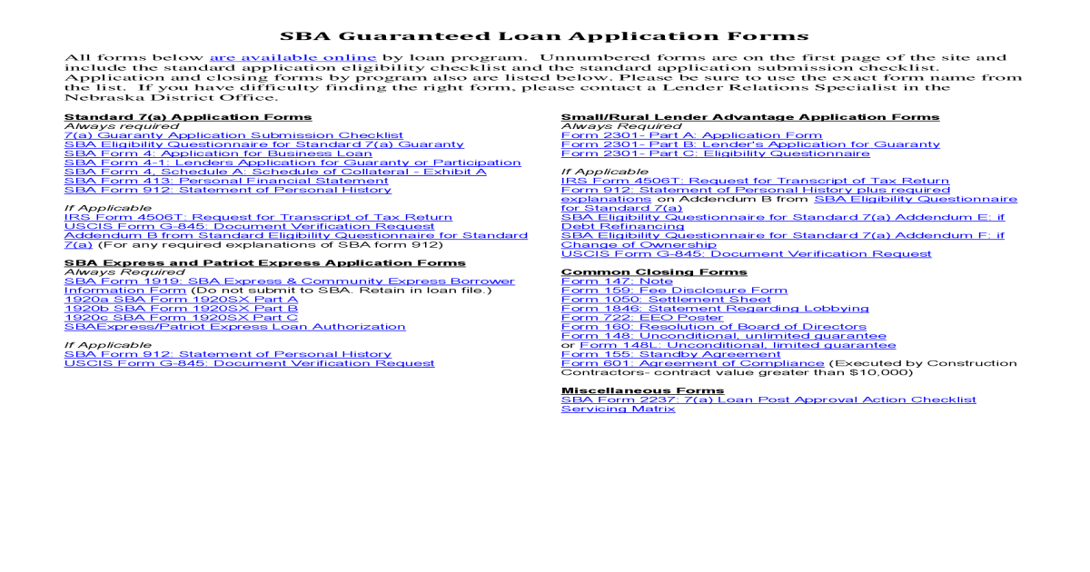 Sba Loan Application Form