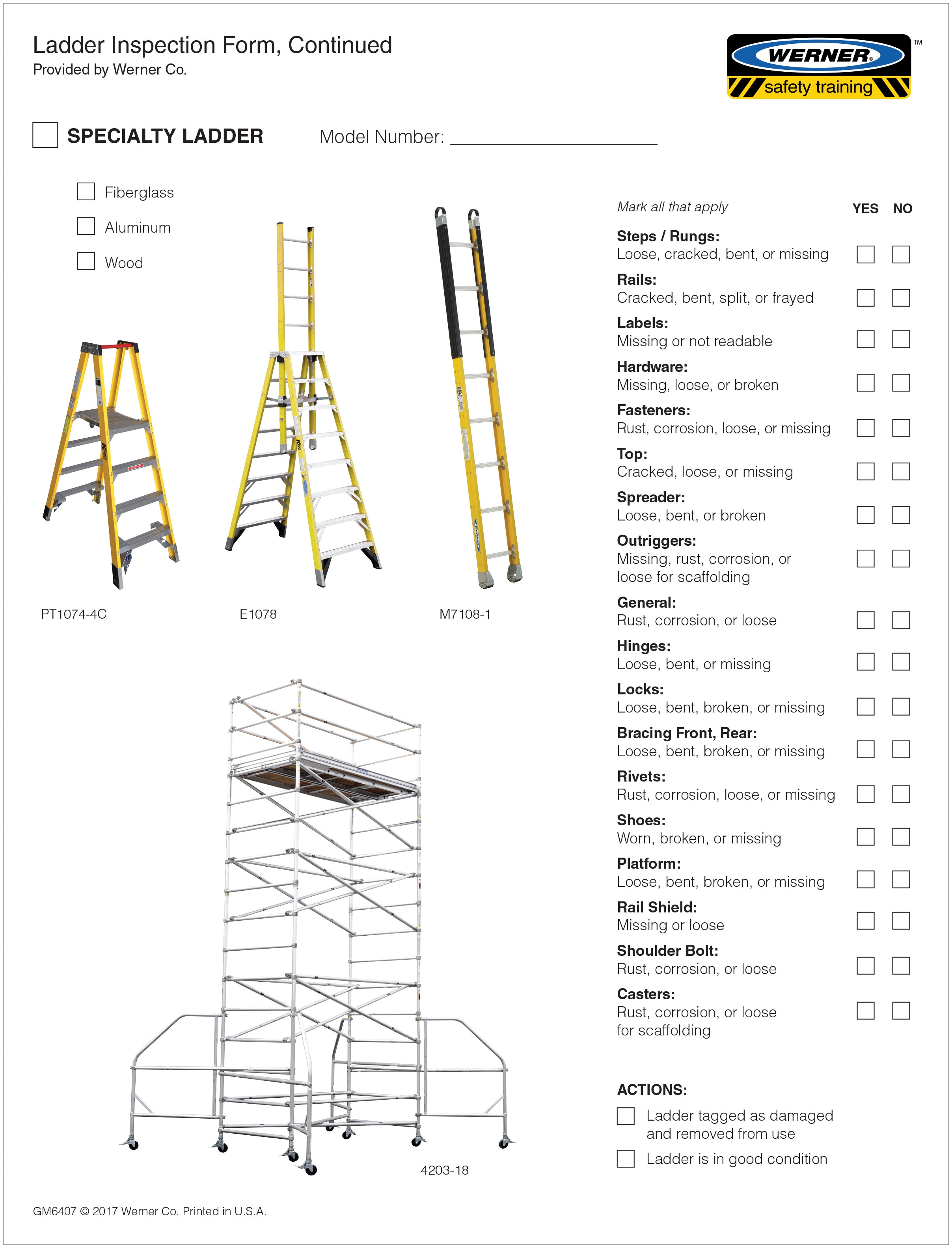 Scaffold Harness Inspection Form