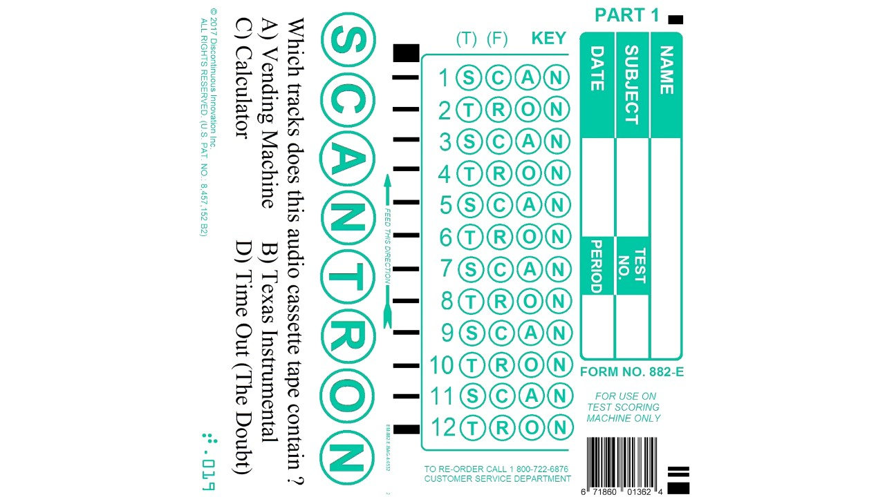 Scantron Form No 882 E Instructions