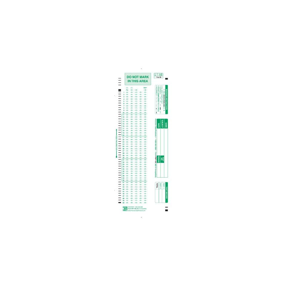Scantron Form No. 882 E