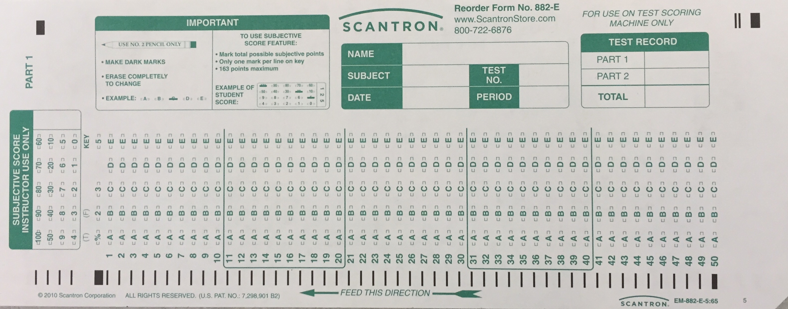 Scantron Form No. 882 Es