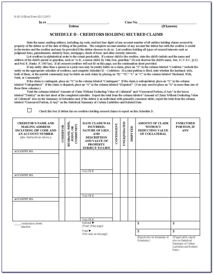 Secured Creditor Claim Form