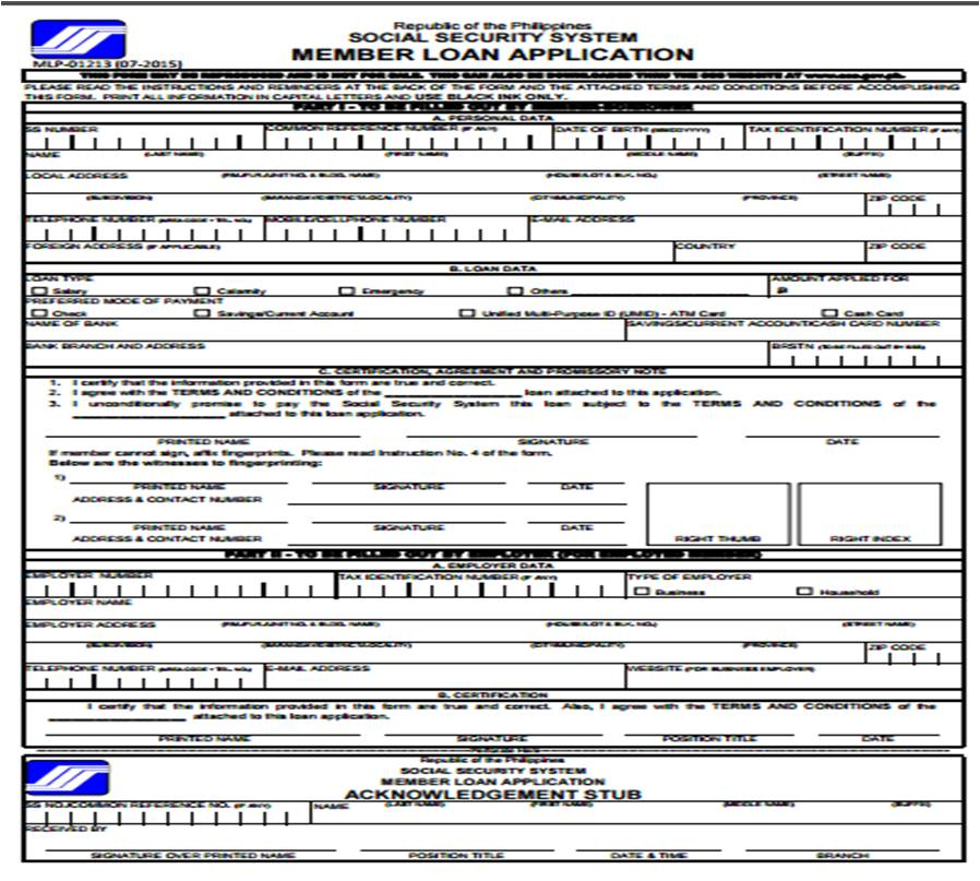 Self Employed Form For Sss