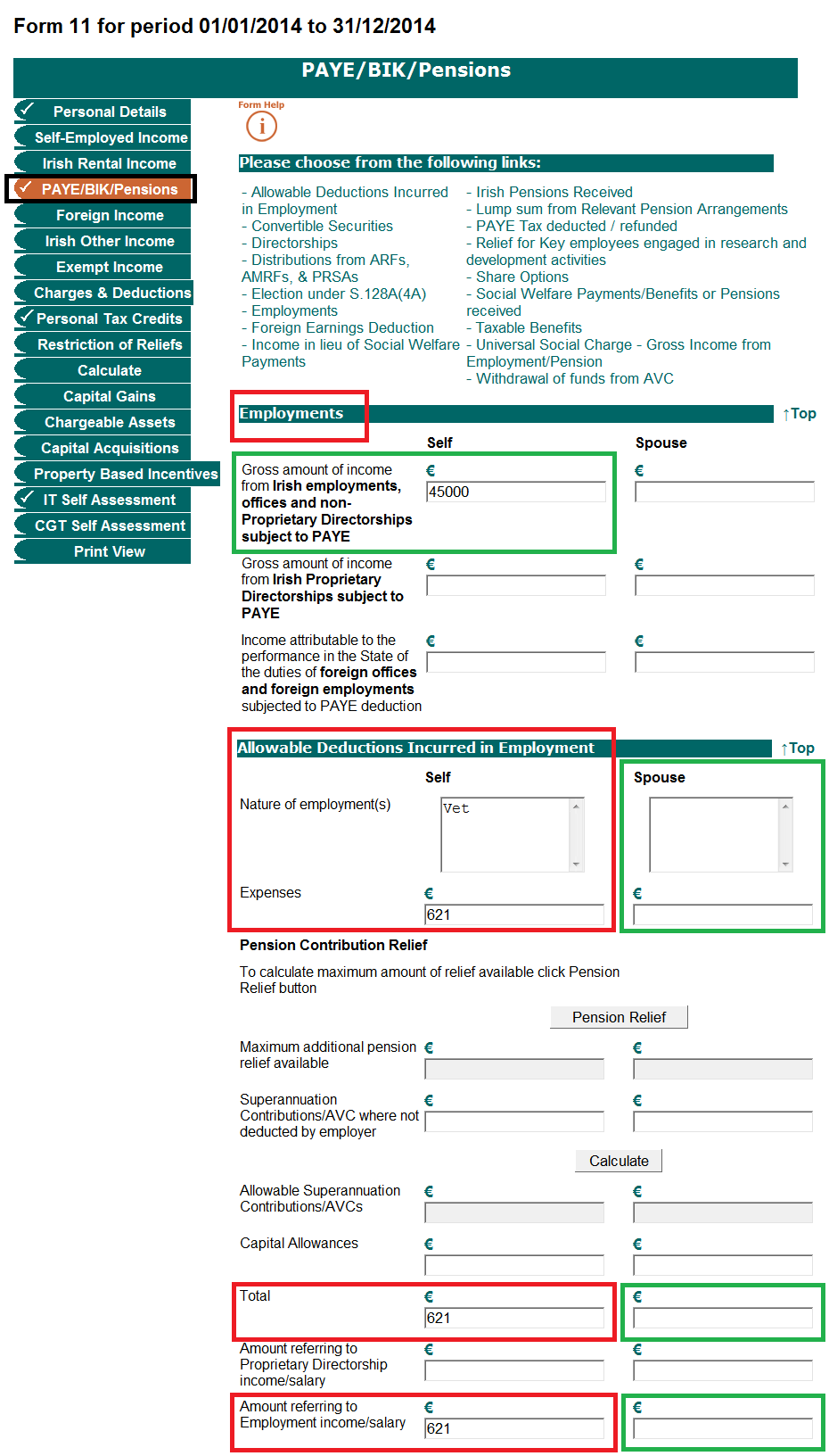 Self Employed Form Ireland